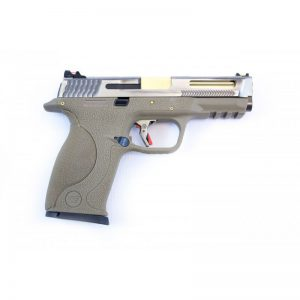E Force Big Bird FDE Vented Silver Slide and Gold Barrel